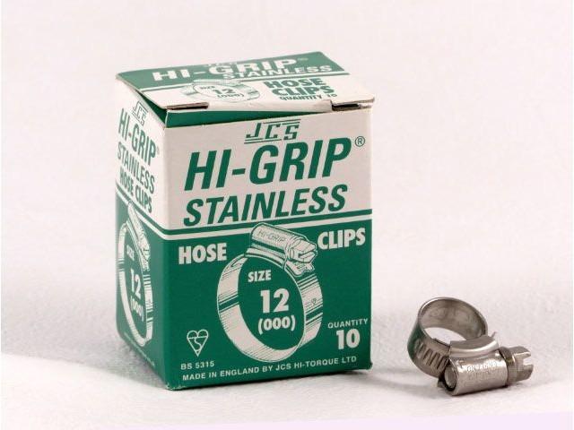 Hi-Grip slangklem, RVS, no.  12, voor 9-12 mm, inh. doos 10 st.