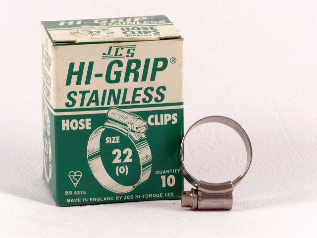 Hi-Grip slangklem, RVS, no.  22, voor 14-22 mm, inh. doos 10 st.