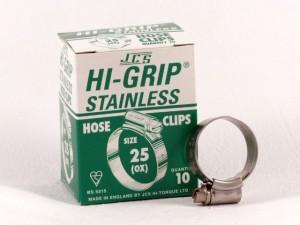 Hi-Grip slangklem, RVS, no.  25, voor 17-25 mm, inh. doos 10 st.
