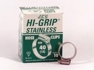 Hi-Grip slangklem, RVS, no.  40, voor 30-40 mm, inh. doos 10 st.