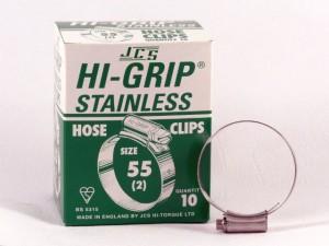 Hi-Grip slangklem, RVS, no.  55, voor 40-55 mm, inh. doos 10 st.